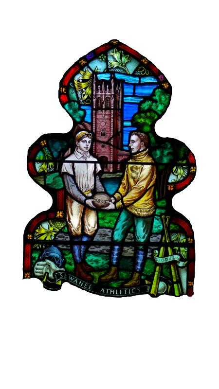 Cropped image from Sewanee Athletics stained glass panel from All Saints' Chapel
