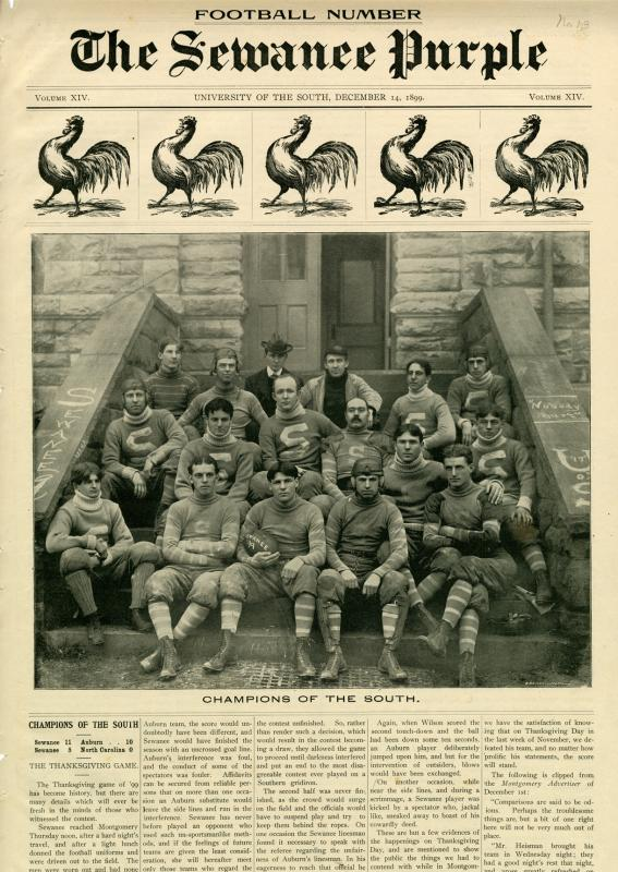 Front page of The Sewanee Purple featuring the 1899 football team