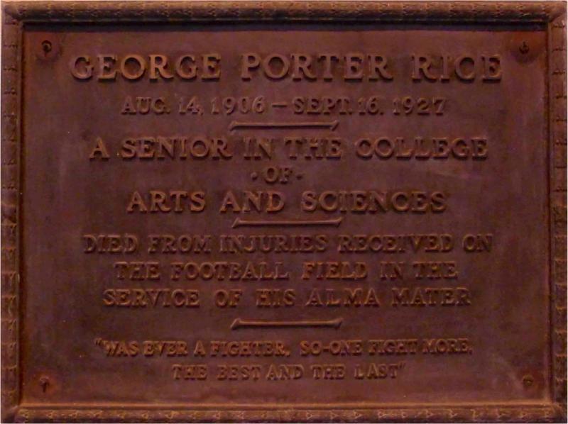 George Porter Rice memorial plaque