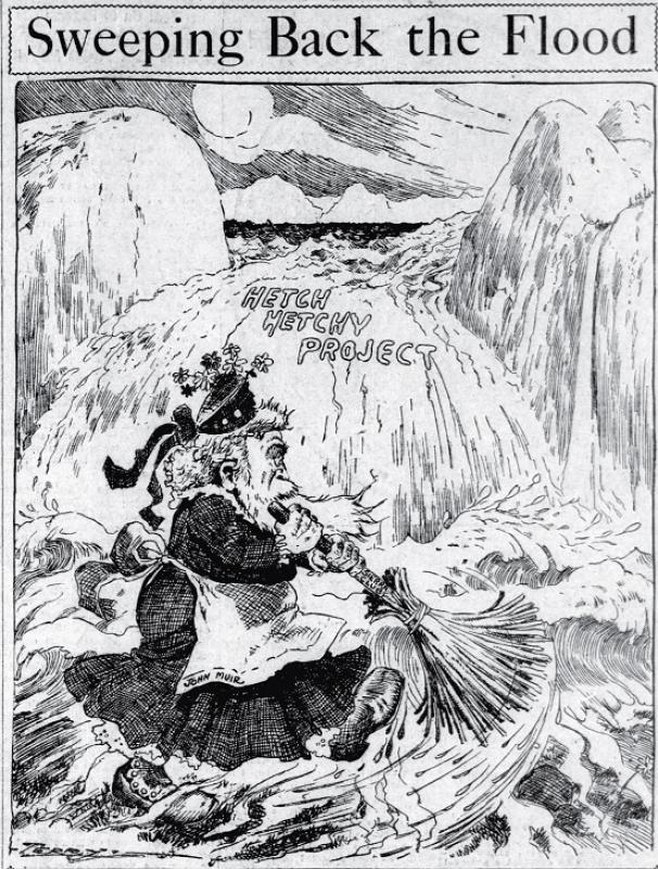 Caricature of John Muir sweeping back flood waters in the Hetch Hetchy Valley