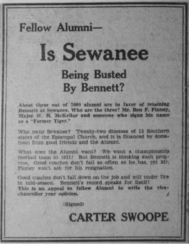 Advertisement criticizing then Sewanee Football coach Michael Bennett paid for by Carter Swoope in a Memphis newspaper.