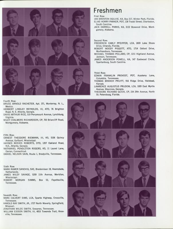 1969 Freshman Class page from The Cap and Gown (Sewanee annual) highlighted to show genders of incoming students.
