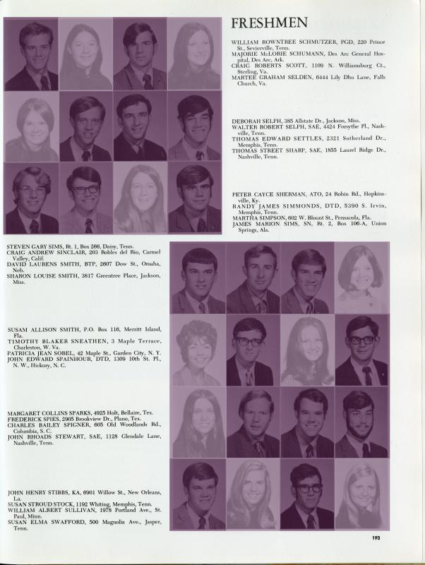 1970 Freshman Class page from The Cap and Gown (Sewanee annual) highlighted to show genders of incoming students.