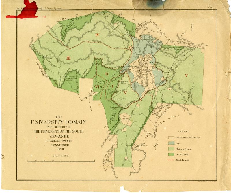 "Map of the University Domain from ""Conservative Lumbering at Sewanee, Tennessee"" by John Foley"