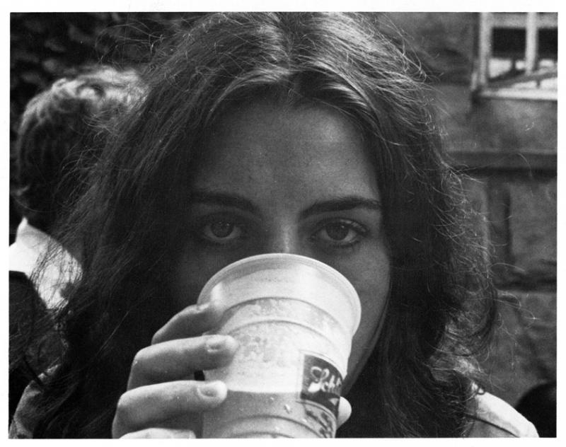 Sewanee student drinking beer from the Cap and Gown, 1974
