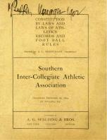 """Cover of the """"Constitution and By-Laws and Laws of Athletics Records and Foot Ball Rules; Southern Inter-Collegiate Athletic Association"""" 1894"""
